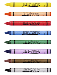 Prang Large Molded Crayon Set in Tuck Box, 4 x 7/16 in, Assorted Color, Set of 8 Item Number 405604