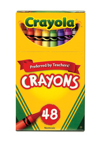 Crayola Standard Size Crayons in Hinged Top Box, Set of 48 Item Number 007536