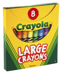 Crayola Large Non-Toxic Crayon in Tuck Box, 4 x 7/16 in, Assorted Colors, Set of 8 Item Number 007542