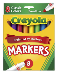 Crayola Original Broad Line Markers, Assorted Bold Colors, Set of 8 Item Number 024046