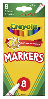 Crayola Original Marker Set, Fine Tip, Assorted Classic Colors, Set of 8 Item Number 008172