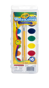 Crayola Non-Toxic Washable Semi-Moist Watercolor Paints, Plastic Oval Pan, 16 Assorted Colors Item Number 008685