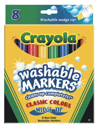 Crayola Non-Toxic Washable Marker Set, Wedge Tip, Assorted Classic Colors, Set of 8 Item Number 008742