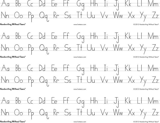 graphic regarding Handwriting Without Tears Printable Paper named Handwriting With no Tears Print Alphabet Table Strips, 4 Strips For every Sheet