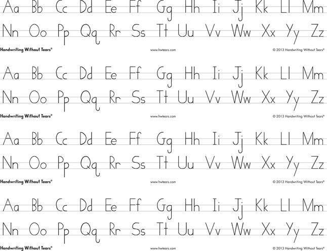 Handwriting Without Tears Print Alphabet Desk Strips, 4 Strips per Sheet