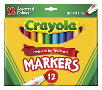 Crayola Original Broad Line Markers, Assorted Classic and Bright Colors, Set of 12 Item Number 024028