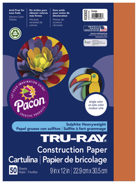 Tru-Ray Sulphite Construction Paper, 18 x 24 Inches, Orange, 50 Sheets Item Number 054936