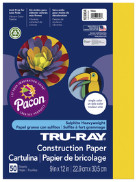 Tru-Ray Sulphite Construction Paper, 12 x 18 Inches, Yellow, 50 Sheets Item Number 054069