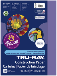Tru-Ray Sulphite Construction Paper, 12 x 18 Inches, Violet, 50 Sheets Item Number 054087