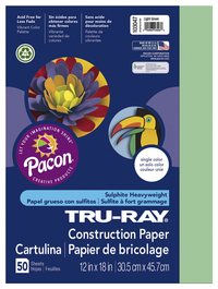 Tru-Ray Sulphite Construction Paper, 12 x 18 Inches, Light Green, 50 Sheets Item Number 054105