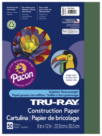 Tru-Ray Sulphite Construction Paper, 9 x 12 Inches, Dark Green, 50 Sheets Item Number 054024