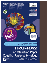 Tru-Ray Sulphite Construction Paper, 12 x 18 Inches, Dark Brown, 50 Sheets Item Number 054135