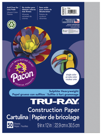 Tru-Ray Sulphite Construction Paper, 12 x 18 Inches, Gray, 50 Sheets Item Number 054144