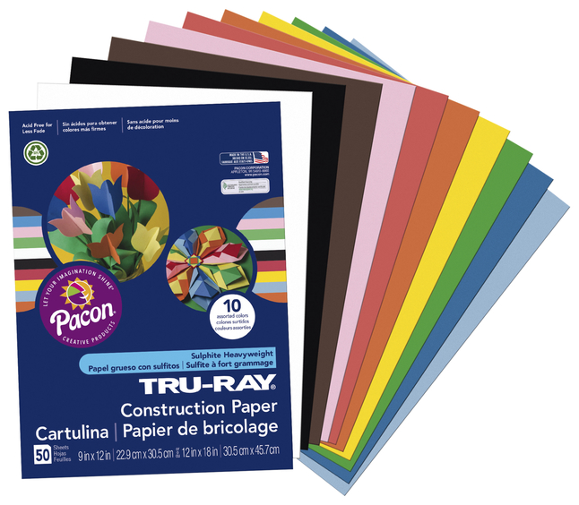 12 x 18 50 Sheets Per Pack Pacon Tru-Ray Construction Paper 5 Packs Royal Blue