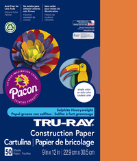 Tru-Ray Sulphite Construction Paper, 9 x 12 Inches, Pumpkin, 50 Sheets Item Number 054588