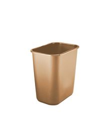 Continental Seamless One Piece Construction Rectangle Waste Basket, 28 Quart, 14-1/2 x 10-1/2 x 15 Inches, Plastic, Biege Item Number 056154