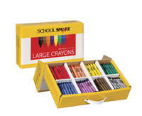 School Smart Large Crayons in Storage Box, Assorted Colors, Pack of 400 Item Number 067254