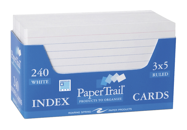3X5 Ruled Index Cards, Item Number 067720
