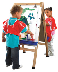 Childcraft Double Adjustable Art Easel, Dry Erase Panels, 23-3/4 x 44-1/2 Inches Item Number 074493