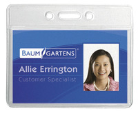 Baumgartens Sicurix Horizontal ID Badge Holder, 3-3/8 X 2-3/8 in, Vinyl, Clear, Pack of 12 Item Number 077811