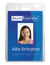 Baumgartens Sicurix Vertical ID Badge Holder, 3-3/8 X 2-3/8 in, Vinyl, Clear, Pack of 12 Item Number 077812