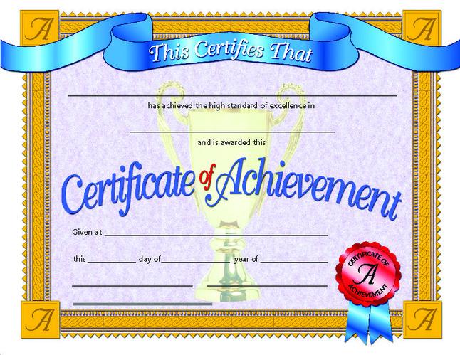 Award Certificates, Item Number 078284