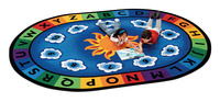 Carpets For Kids Sunny Day Learn and Play Carpet, 4 Feet 5 Inches x 5 Feet 10 Inches, Oval Item Number 078451