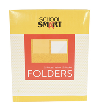 School Smart Folder with Fasteners, 2-Pocket, Yellow, Pack of 25 Item Number 084892