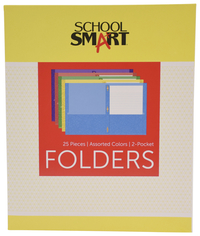 School Smart Folder with Fasteners, 2-Pocket, Assorted Colors, Pack of 25 Item Number 084901