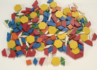 School Smart Wooden Pattern Blocks, 8 Assorted Shapes and Colors, Set of 250 Item Number 084980