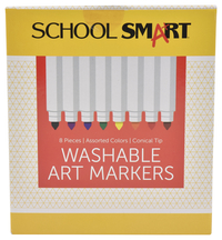 School Smart Non-Toxic Washable Marker, Conical Tip, Assorted Colors, Pack of 8 Item Number 085116