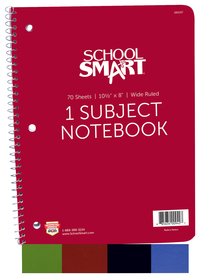 School Smart Spiral Wide Ruled Notebook, 8 x 10-1/2 Inches Item Number 085267