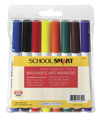 School Smart Non-Toxic Washable Marker, Chisel Tip, Assorted Colors, Pack of 8 Item Number 086411