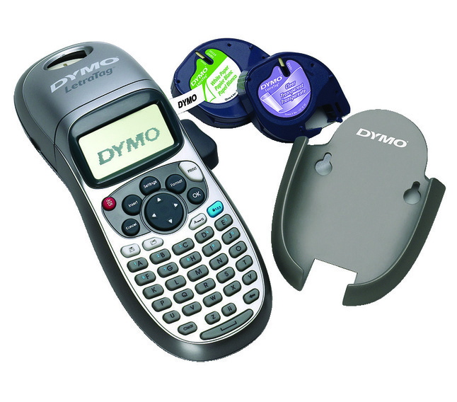 Dymo LetraTag Plus LT-100H 2-Line Personal Label Maker, 8-3/8 x 2-5/8 x  3-1/8 Inches, 9 Labels/Minute, Silver/Blue