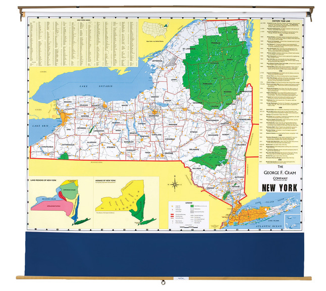 Nystrom New York Pull Down Roller Clroom Map, 64 x 50 Inches on