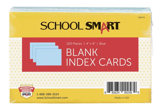 4 x 6 100//Pack Blue Unruled Index Cards