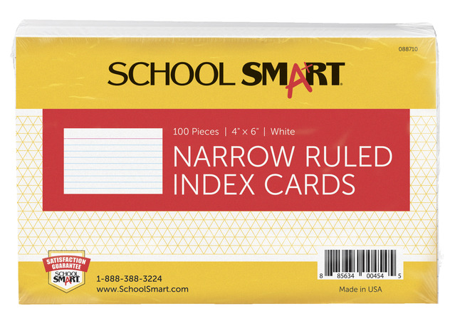 4x6 Ruled Index Cards, Item Number 088710