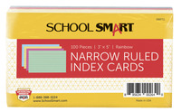 School Smart Ruled Index Cards, 3 x 5 Inches, Assorted Colors, Pack of 100 Item Number 088711