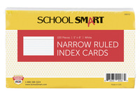 School Smart Ruled Index Cards, 5 x 8 Inches, White, Pack of 100 Item Number 088713