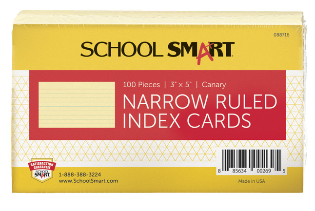 3X5 Ruled Index Cards, Item Number 088716