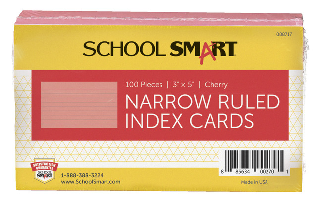 3X5 Ruled Index Cards, Item Number 088717