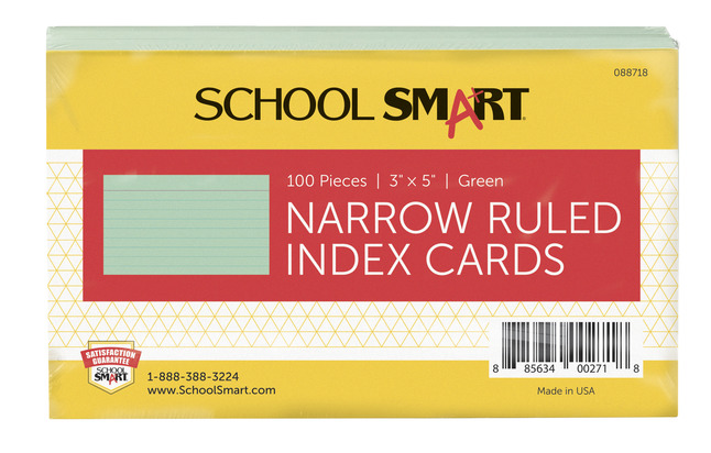 3X5 Ruled Index Cards, Item Number 088718