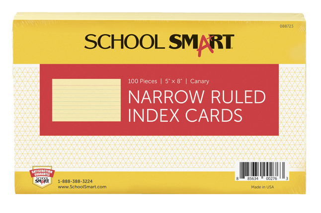 5x8 Ruled Index Cards, Item Number 088723