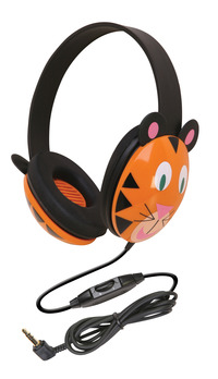 Califone 2810-TI Listening First Kids Tiger Theme Wired Headphones Item Number 089443