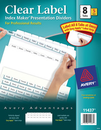 Index Dividers, Item Number 089637