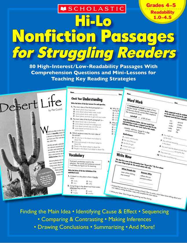 Scholastic Hi Lo Nonfiction Passages For Struggling Readers Grades 4 To 5