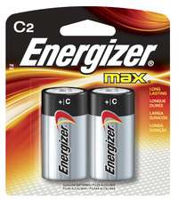 Energizer Max Alkaline Premium C Battery, 8350 mAh, 1.5 V, Pack of 2 Item Number 090168
