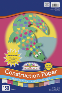 Sunworks Smart-Stack Groundwood Heavyweight Construction Paper, 12 x 18 Inches, Assorted Color, Pack of 150 Item Number 090206
