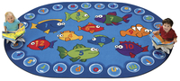 Carpets For Kids Fishing for Literacy Rug, 3 Feet 10 Inches x 5 Feet 5 Inches, Oval Item Number 091543
