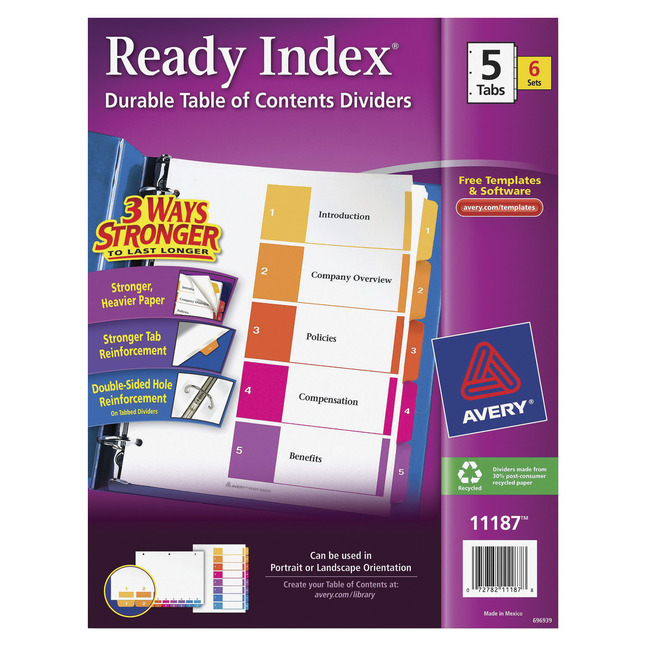 Index Dividers, Item Number 1054160